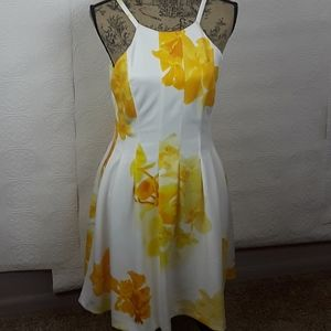 Clavin Klein Yellow Floral Lined Dress Size 6